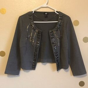 H&M Beaded Cropped Sweater Jacket. Size M.